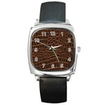 Leather Look & Skins Brown Crocodile Square Metal Watch