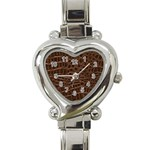 Leather Look & Skins Brown Crocodile Heart Italian Charm Watch