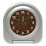 Leather Look & Skins Brown Crocodile Travel Alarm Clock