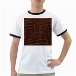Leather Look & Skins Brown Crocodile Ringer T
