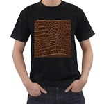 Leather Look & Skins Brown Crocodile Black T-Shirt (Two Sides)