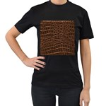 Leather Look & Skins Brown Crocodile Women s Black T-Shirt (Two Sides)