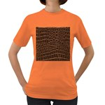 Leather Look & Skins Brown Crocodile Women s Dark T-Shirt