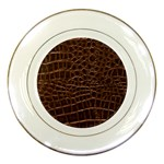 Leather Look & Skins Brown Crocodile Porcelain Plate