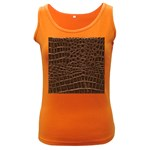 Leather Look & Skins Brown Crocodile Women s Dark Tank Top