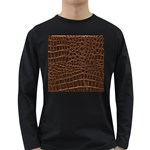 Leather Look & Skins Brown Crocodile Long Sleeve Dark T-Shirt