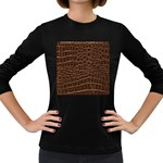 Leather Look & Skins Brown Crocodile Women s Long Sleeve Dark T-Shirt