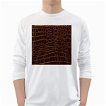Leather Look & Skins Brown Crocodile Long Sleeve T-Shirt