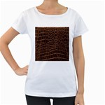 Leather Look & Skins Brown Crocodile Maternity White T-Shirt
