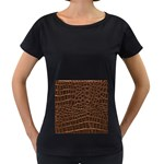 Leather Look & Skins Brown Crocodile Maternity Black T-Shirt