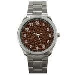 Leather Look & Skins Brown Crocodile Sport Metal Watch