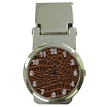 Leather Look & Skins Brown Crocodile Money Clip Watch
