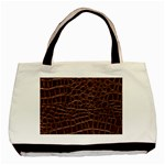 Leather Look & Skins Brown Crocodile Classic Tote Bag