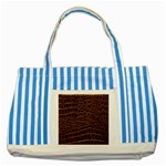 Leather Look & Skins Brown Crocodile Striped Blue Tote Bag