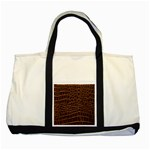 Leather Look & Skins Brown Crocodile Two Tone Tote Bag