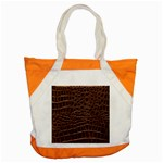 Leather Look & Skins Brown Crocodile Accent Tote Bag