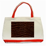 Leather Look & Skins Brown Crocodile Classic Tote Bag (Red)
