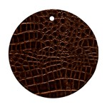 Leather Look & Skins Brown Crocodile Round Ornament (Two Sides)