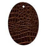 Leather Look & Skins Brown Crocodile Oval Ornament (Two Sides)