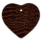 Leather Look & Skins Brown Crocodile Heart Ornament (Two Sides)