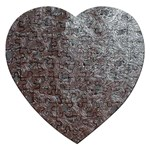 Leather Look & Skins Black And Brown Floral Jigsaw Puzzle (Heart)
