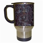 Leather Look & Skins Black And Brown Floral Travel Mug (White)