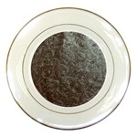 Leather Look & Skins Black And Brown Floral Porcelain Plate