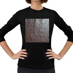 Leather Look & Skins Black And Brown Floral Women s Long Sleeve Dark T-Shirt