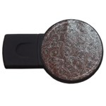 Leather Look & Skins Black And Brown Floral USB Flash Drive Round (4 GB)