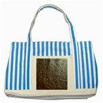 Leather Look & Skins Black And Brown Floral Striped Blue Tote Bag