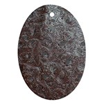 Leather Look & Skins Black And Brown Floral Oval Ornament (Two Sides)