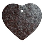 Leather Look & Skins Black And Brown Floral Heart Ornament (Two Sides)