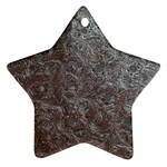 Leather Look & Skins Black And Brown Floral Star Ornament (Two Sides)