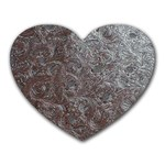 Leather Look & Skins Black And Brown Floral Mousepad (Heart)