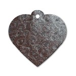 Leather Look & Skins Black And Brown Floral Dog Tag Heart (Two Sides)