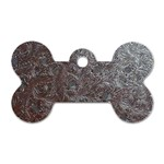 Leather Look & Skins Black And Brown Floral Dog Tag Bone (Two Sides)