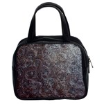 Leather Look & Skins Black And Brown Floral Classic Handbag (Two Sides)