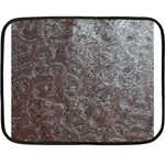 Leather Look & Skins Black And Brown Floral Mini Fleece Blanket(Two Sides)
