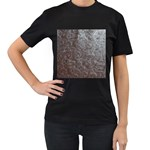 Leather Look & Skins Black And Brown Floral Women s Black T-Shirt