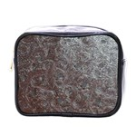 Leather Look & Skins Black And Brown Floral Mini Toiletries Bag (One Side)