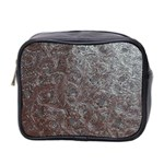 Leather Look & Skins Black And Brown Floral Mini Toiletries Bag (Two Sides)