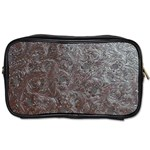 Leather Look & Skins Black And Brown Floral Toiletries Bag (Two Sides)
