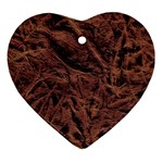 Leather Look & Skins Bark Brown Ornament (Heart)