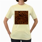 Leather Look & Skins Bark Brown Women s Yellow T-Shirt