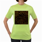 Leather Look & Skins Bark Brown Women s Green T-Shirt
