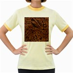 Leather Look & Skins Bark Brown Women s Fitted Ringer T-Shirt