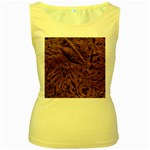 Leather Look & Skins Bark Brown Women s Yellow Tank Top