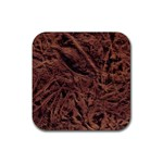 Leather Look & Skins Bark Brown Rubber Coaster (Square)