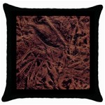 Leather Look & Skins Bark Brown Throw Pillow Case (Black)