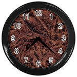 Leather Look & Skins Bark Brown Wall Clock (Black)